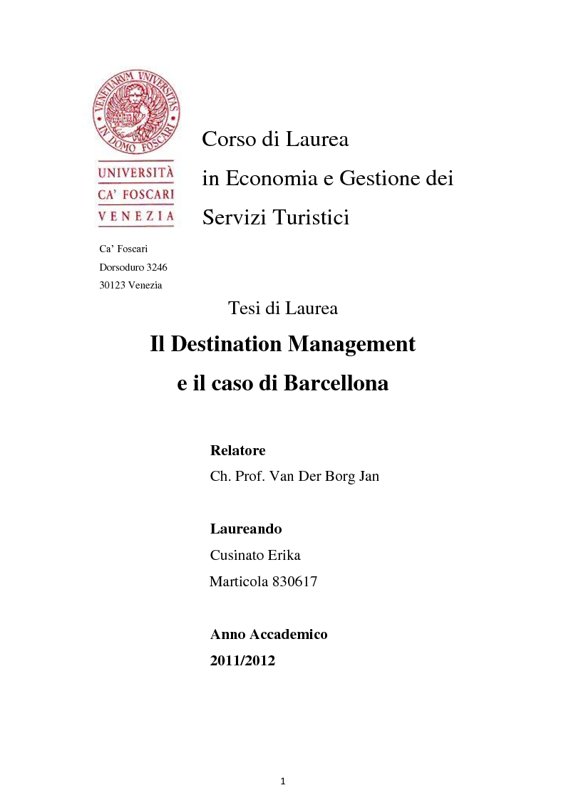 Anteprima della tesi: Il Destination Management e il caso di Barcellona, Pagina 1