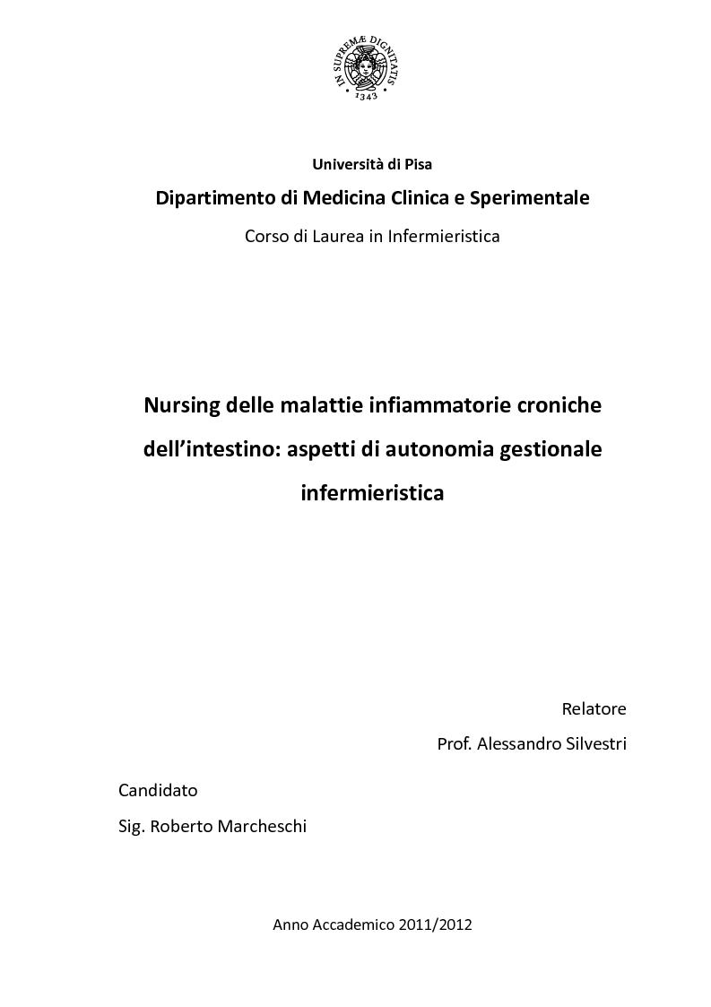 Anteprima della tesi: Nursing delle Malattie Infiammatorie Croniche dell'Intestino: aspetti di autonomia gestionale infermieristica, Pagina 1