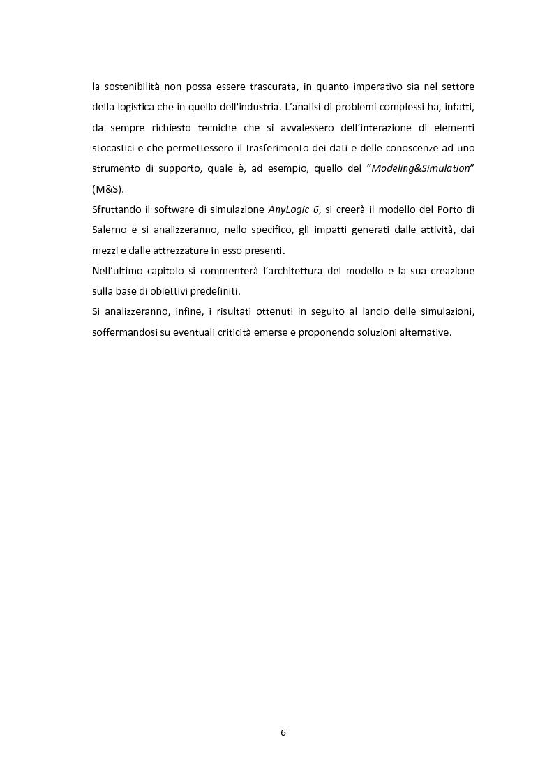 Anteprima della tesi: Modellazione e Simulazione a supporto della Green Logistics nei porti, Pagina 3