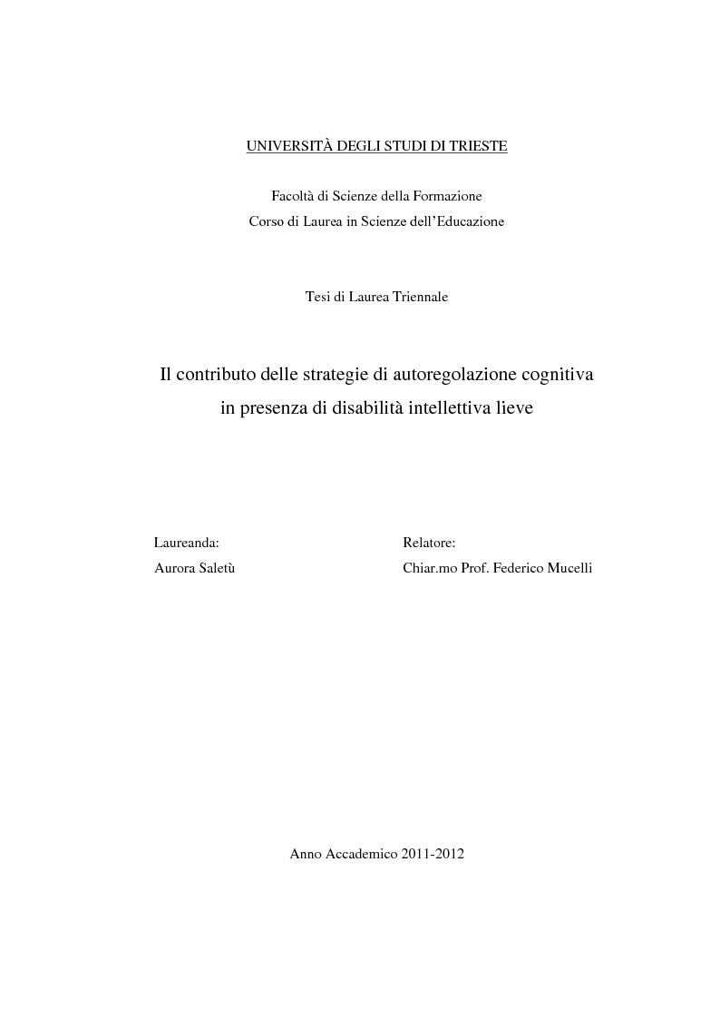 Anteprima della tesi: Il contributo delle strategie di autoregolazione cognitiva in presenza di disabilità intellettiva lieve, Pagina 1