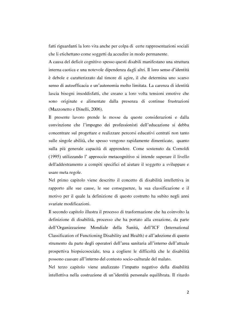 Anteprima della tesi: Il contributo delle strategie di autoregolazione cognitiva in presenza di disabilità intellettiva lieve, Pagina 3
