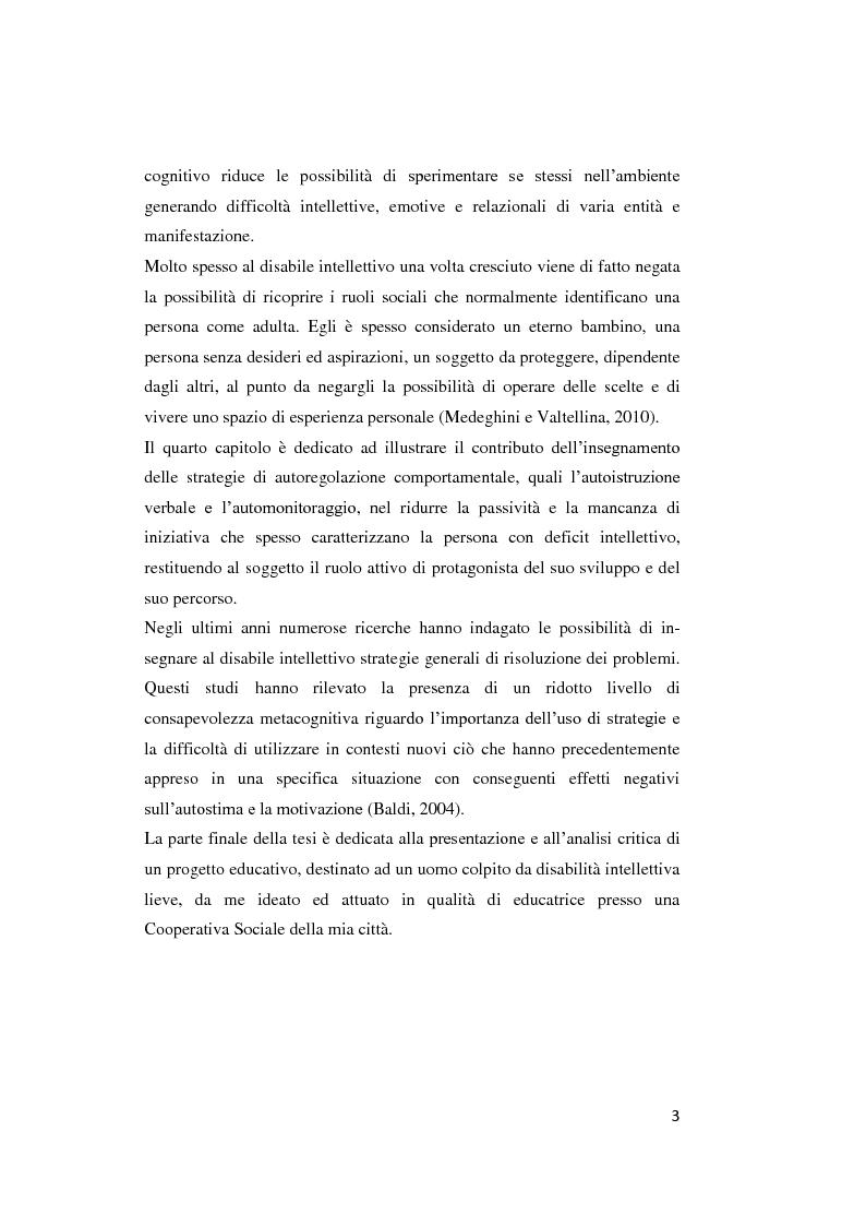 Anteprima della tesi: Il contributo delle strategie di autoregolazione cognitiva in presenza di disabilità intellettiva lieve, Pagina 4