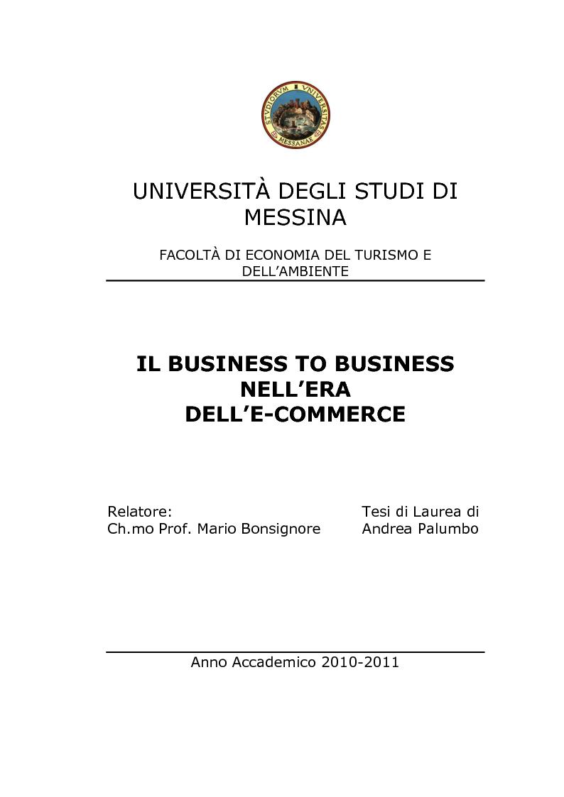 Anteprima della tesi: Il Business to Business nell'era dell'E-commerce, Pagina 1