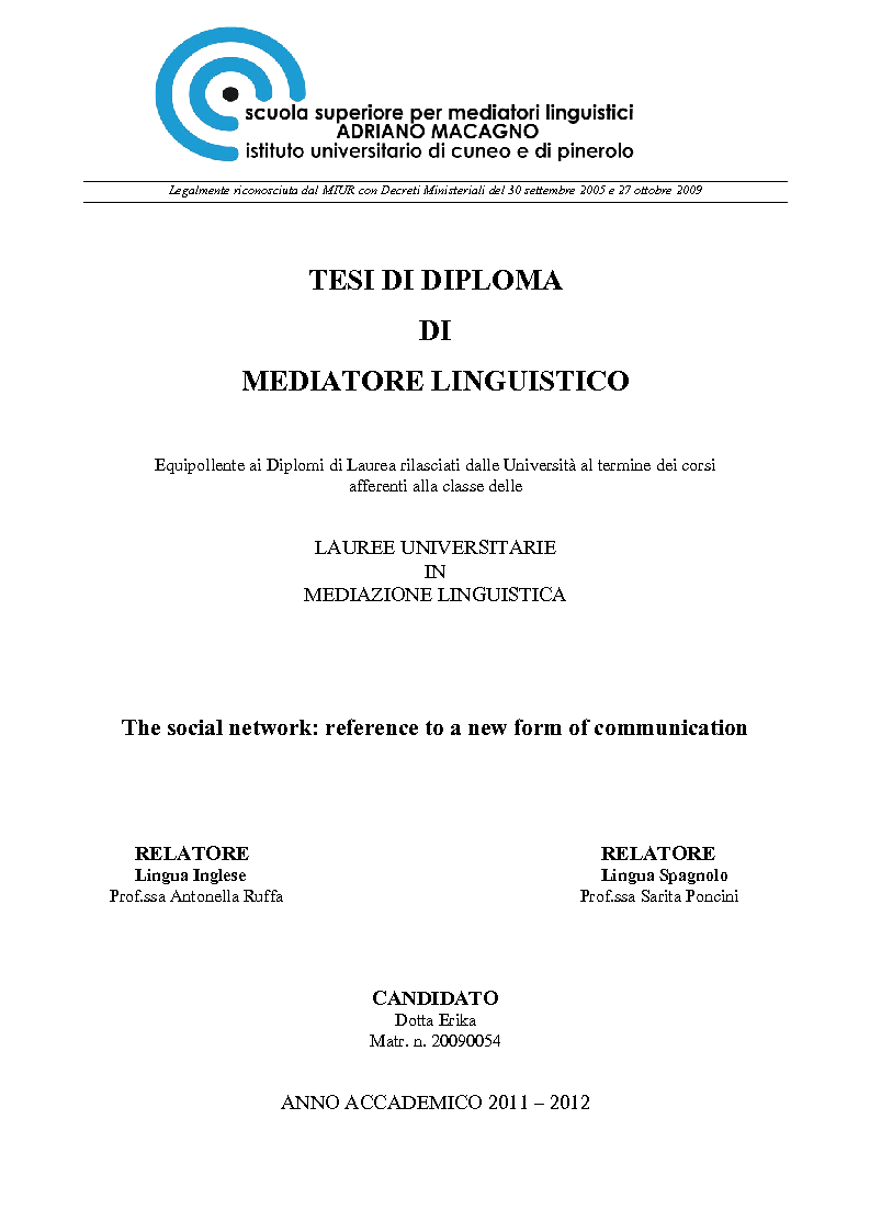 Anteprima della tesi: The social network: reference to a new form of communication - Los social network: referencia de una nueva forma de comunicaciòn, Pagina 1
