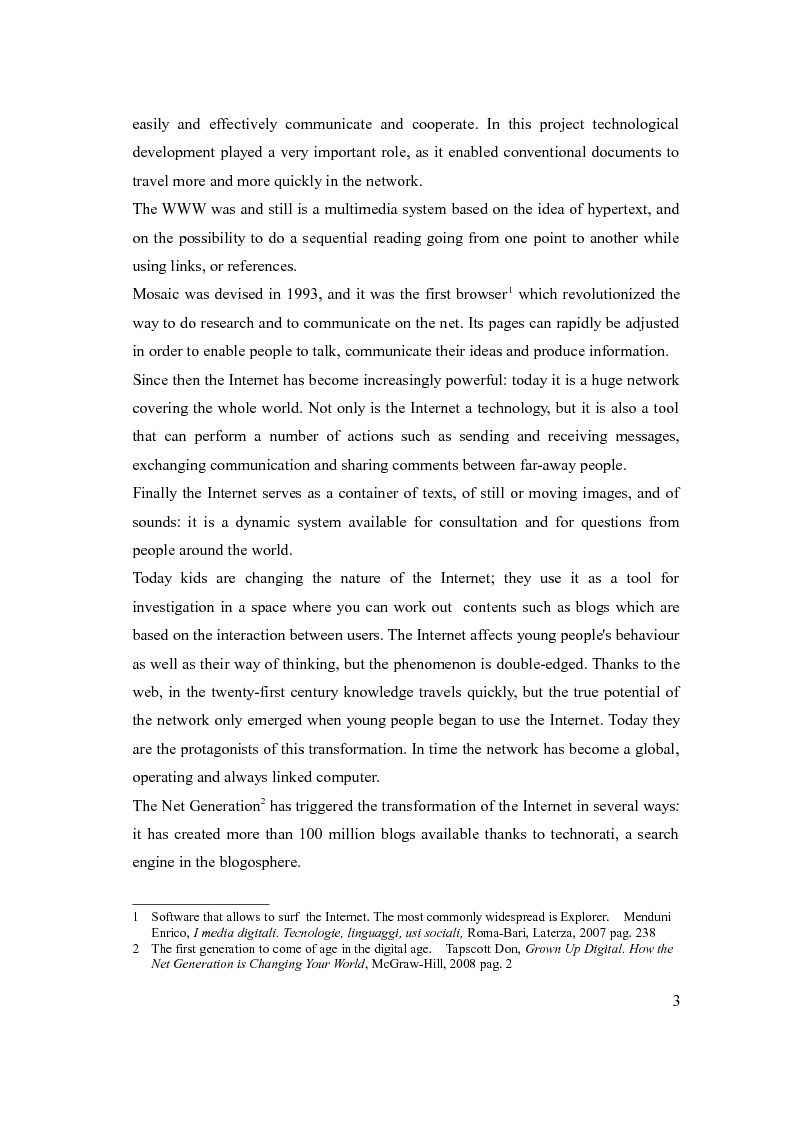 Anteprima della tesi: The social network: reference to a new form of communication - Los social network: referencia de una nueva forma de comunicaciòn, Pagina 3