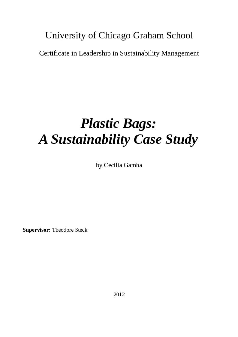 Anteprima della tesi: Plastic Bags: A Sustainability Case Study, Pagina 1