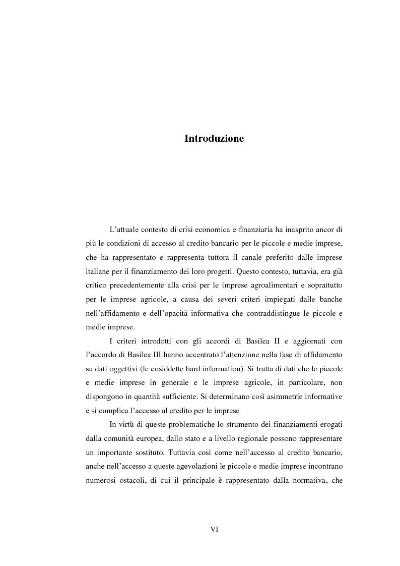 Anteprima della tesi: Opportunità e vincoli per il finanziamento pubblico all'agroindustria in Toscana. Il caso della misura 123a del Piano di Sviluppo Rurale , Pagina 2