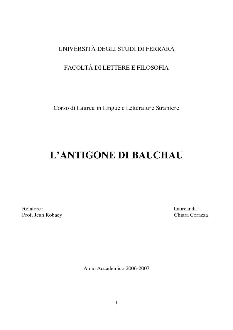 Anteprima della tesi: L'Antigone di Bauchau, Pagina 1