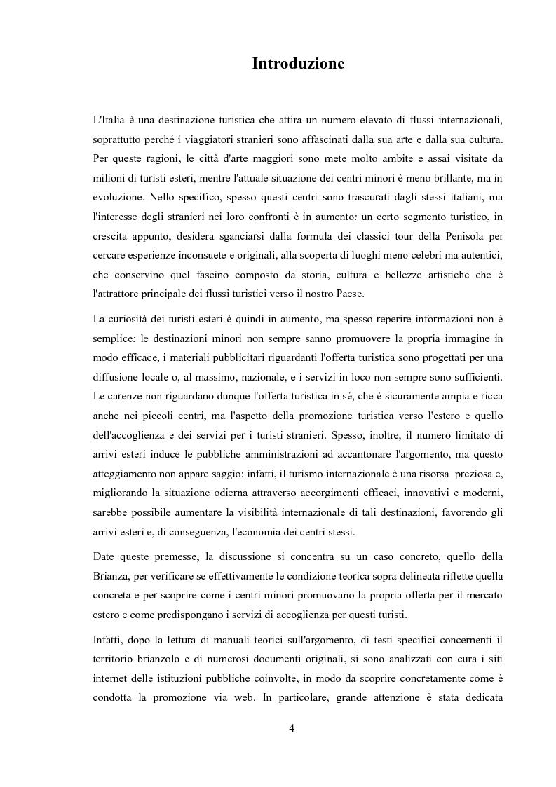 Anteprima della tesi: Promozione dei centri minori e turismo internazionale. Il caso di Monza e Brianza., Pagina 2