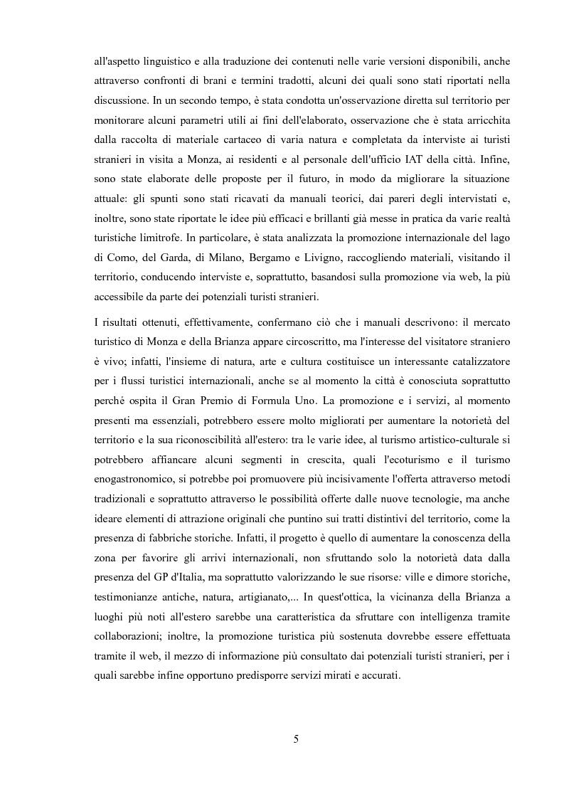 Anteprima della tesi: Promozione dei centri minori e turismo internazionale. Il caso di Monza e Brianza., Pagina 3
