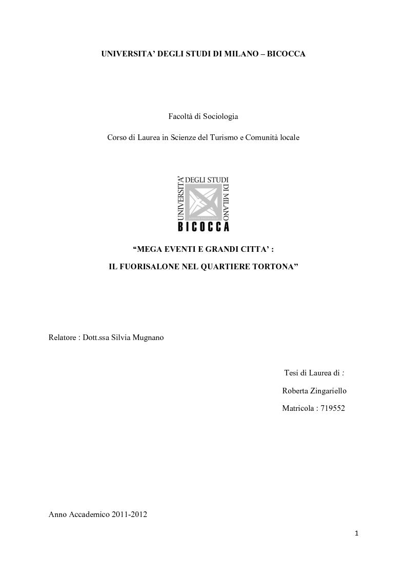 Anteprima della tesi: Mega eventi e grandi città: il Fuorisalone nel quartiere Tortona, Pagina 1
