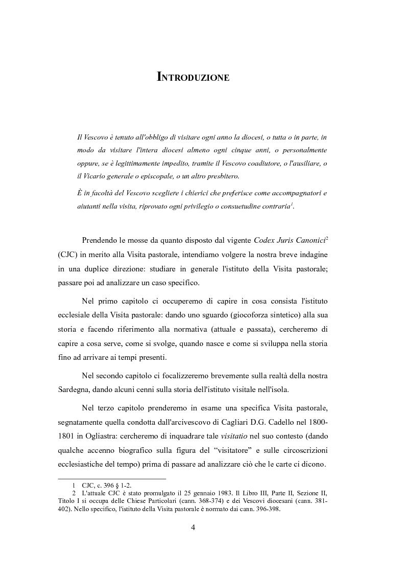 Anteprima della tesi: Le Visite pastorali. Cenni sull'istituto visitale ed analisi della Visita pastorale di D. G. Cadello in Ogliastra (1800-1801), Pagina 2