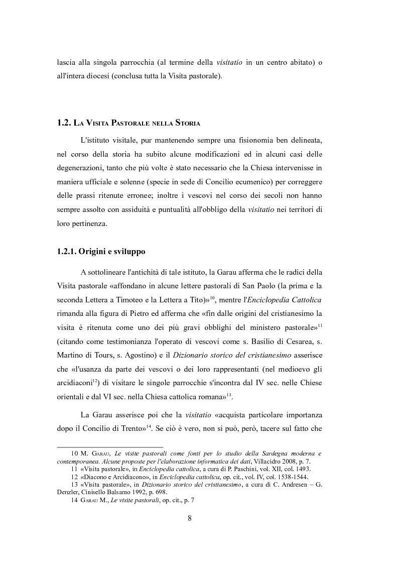 Anteprima della tesi: Le Visite pastorali. Cenni sull'istituto visitale ed analisi della Visita pastorale di D. G. Cadello in Ogliastra (1800-1801), Pagina 6