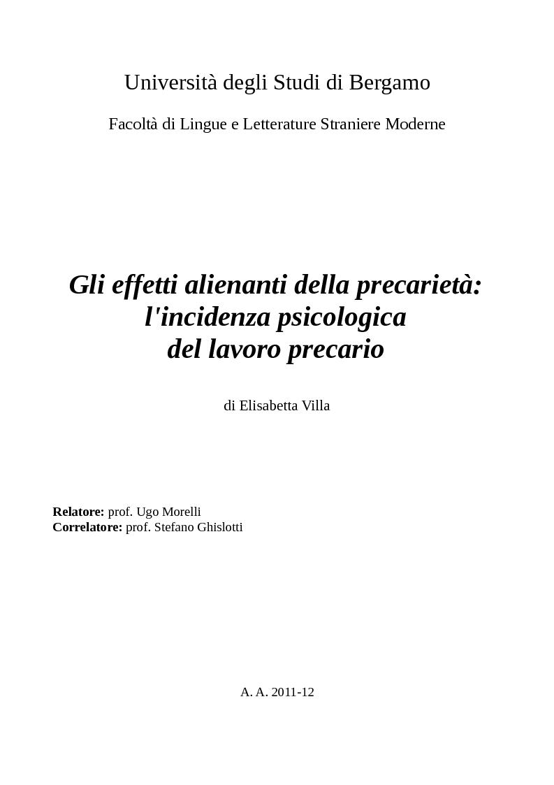 Anteprima della tesi: Gli effetti alienanti della precarietà: l'incidenza psicologica del lavoro precario, Pagina 1
