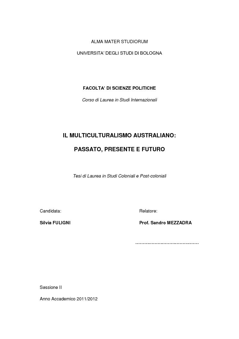 Anteprima della tesi: Il multiculturalismo australiano: passato, presente e futuro, Pagina 1