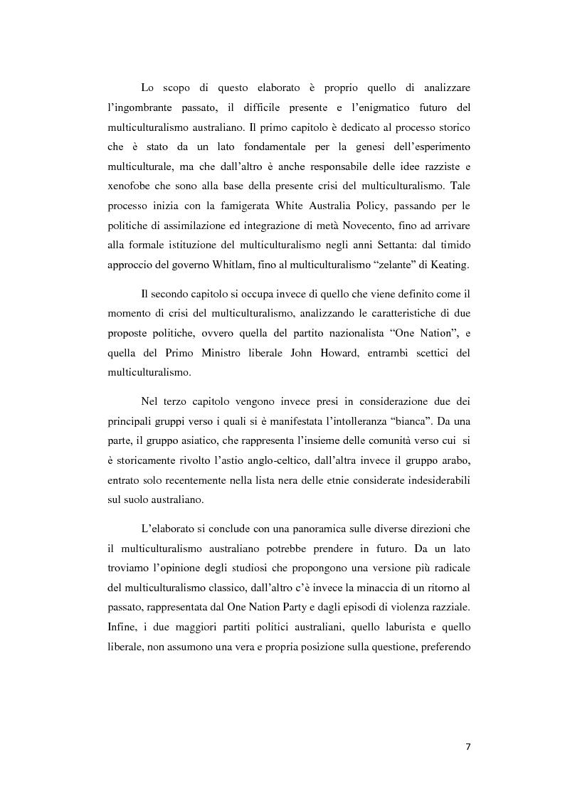 Anteprima della tesi: Il multiculturalismo australiano: passato, presente e futuro, Pagina 3