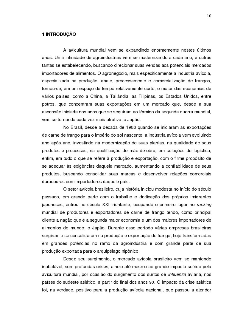 Anteprima della tesi: A projeção da demanda de carne de frango de origem brasileira no mercado japonês para os próximos cinco anos., Pagina 2
