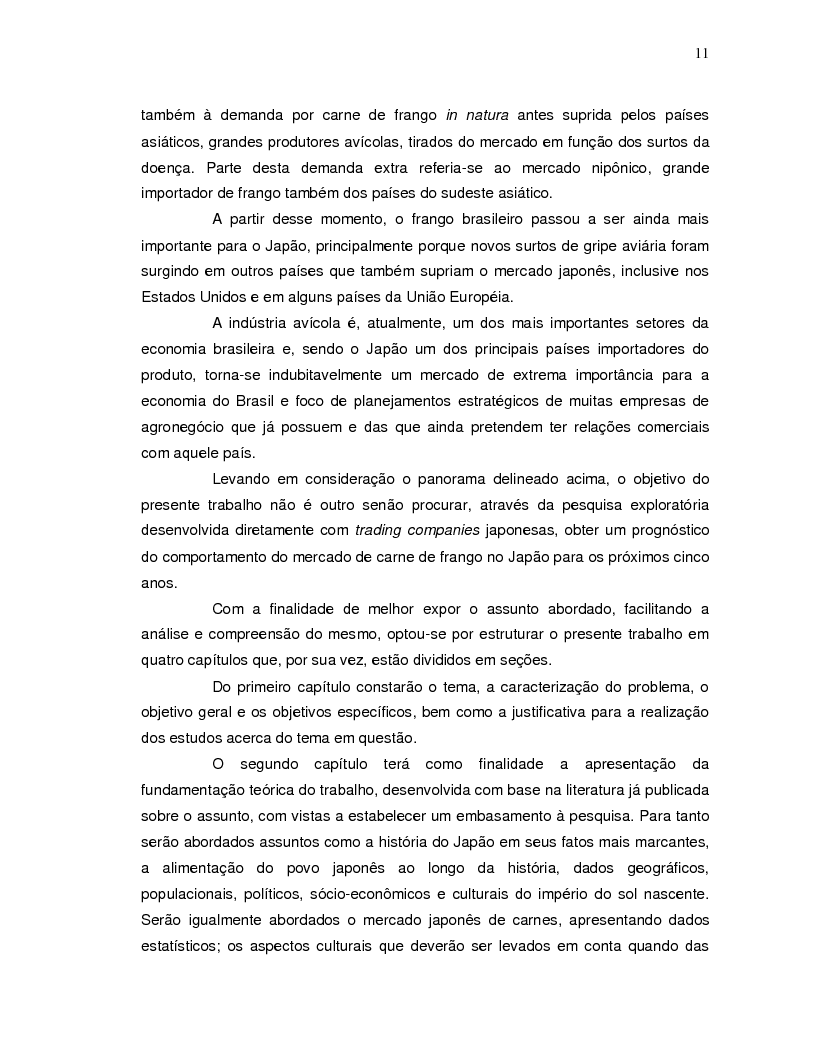 Anteprima della tesi: A projeção da demanda de carne de frango de origem brasileira no mercado japonês para os próximos cinco anos., Pagina 3