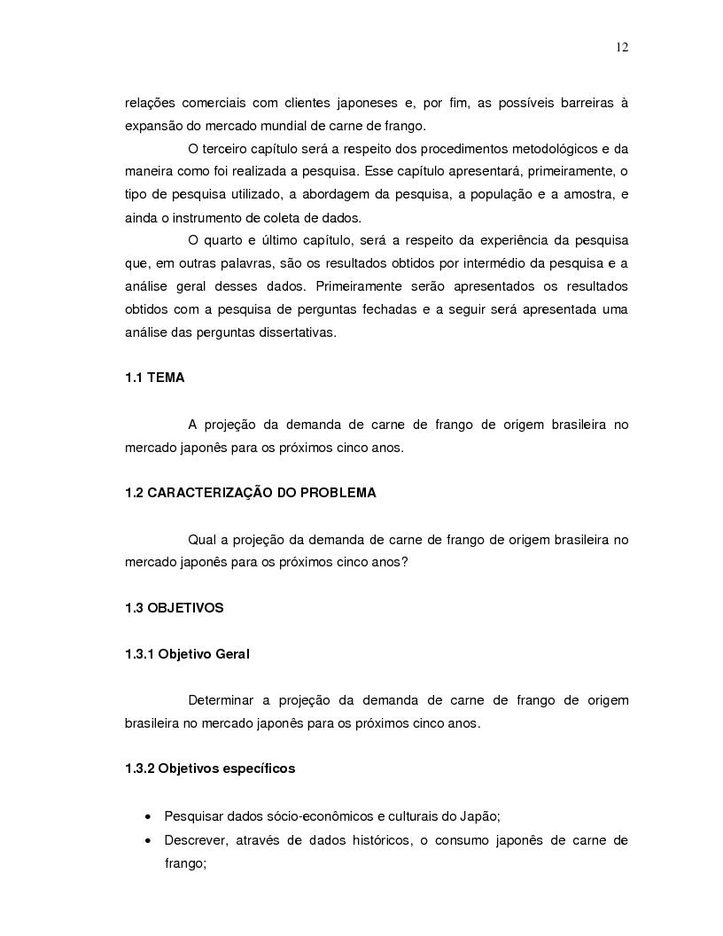 Anteprima della tesi: A projeção da demanda de carne de frango de origem brasileira no mercado japonês para os próximos cinco anos., Pagina 4