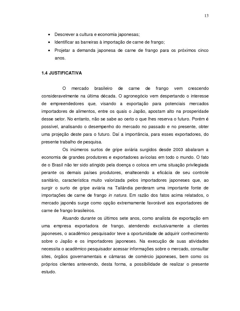 Anteprima della tesi: A projeção da demanda de carne de frango de origem brasileira no mercado japonês para os próximos cinco anos., Pagina 5
