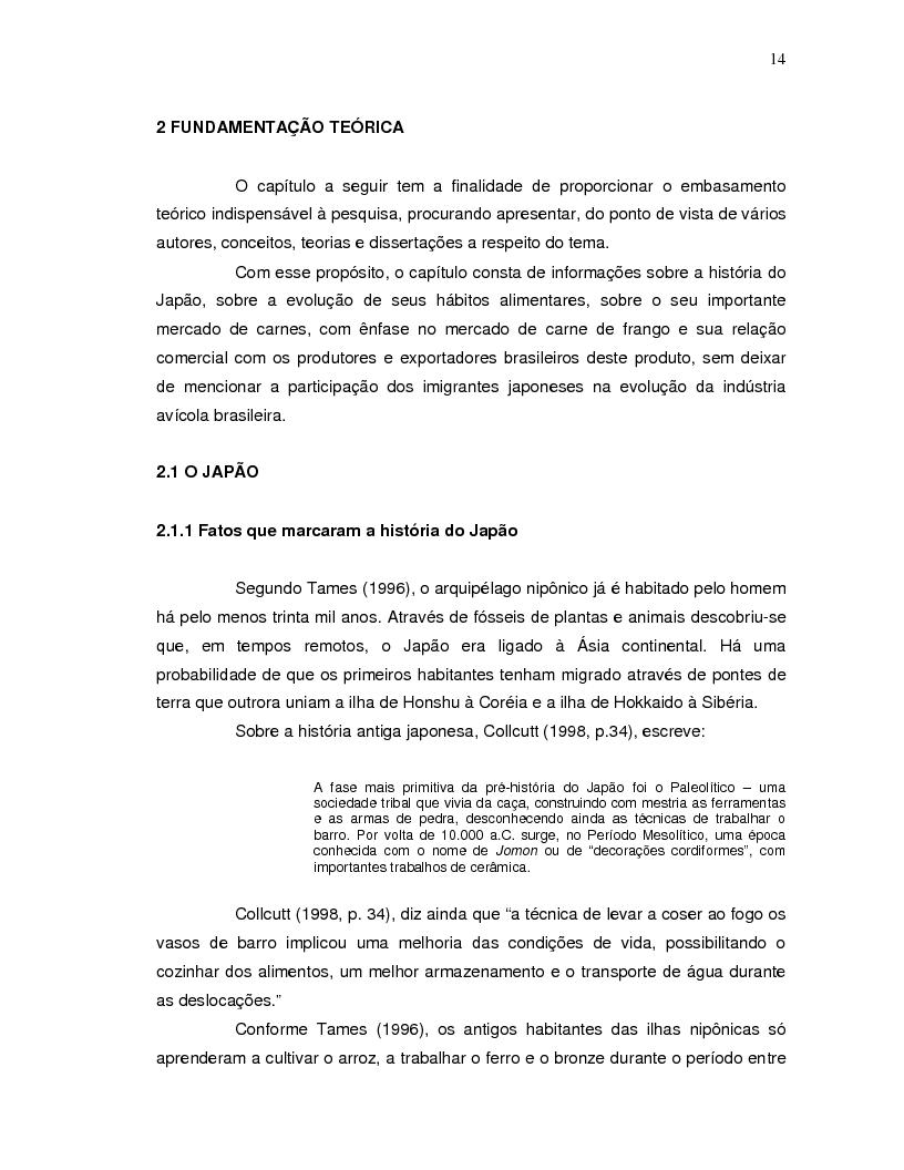 Anteprima della tesi: A projeção da demanda de carne de frango de origem brasileira no mercado japonês para os próximos cinco anos., Pagina 6