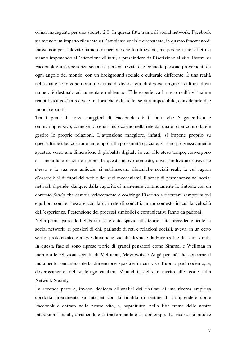 Anteprima della tesi: Attraverso Facebook. Un'indagine empirica, Pagina 3