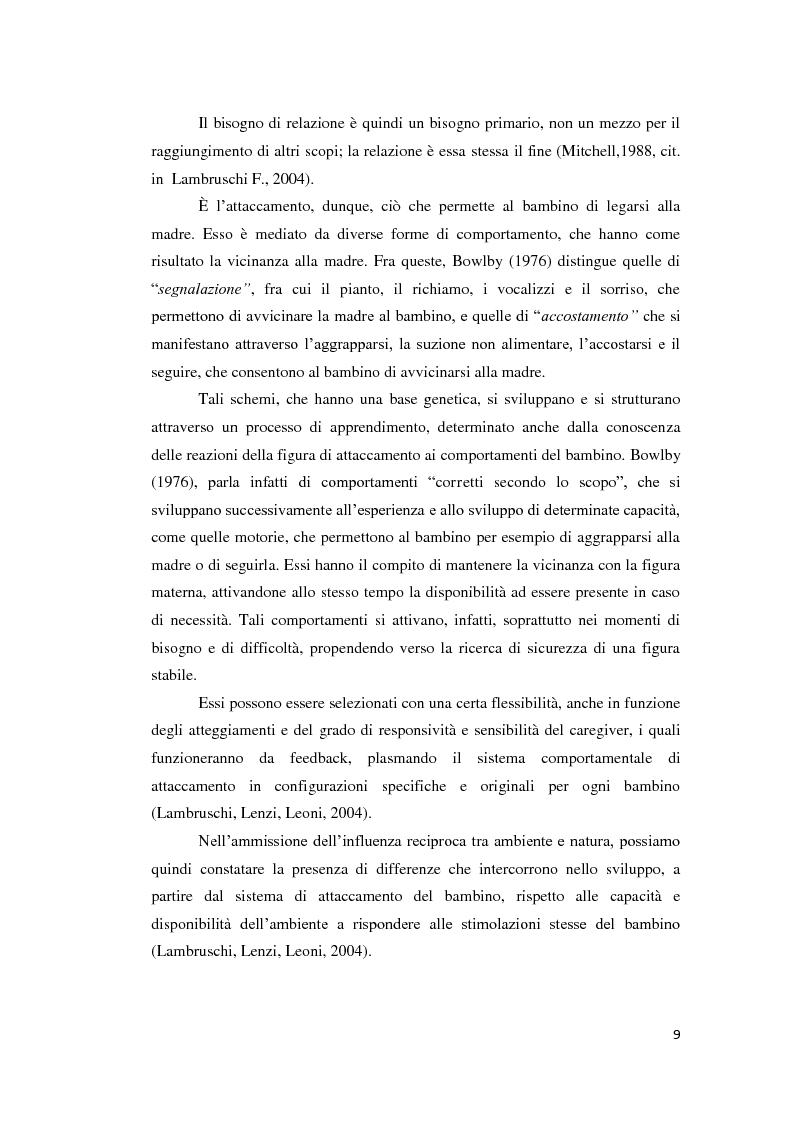 Anteprima della tesi: Lo sviluppo della narrazione e della memoria autobiografica alla luce della Teoria dell'Attaccamento, Pagina 10