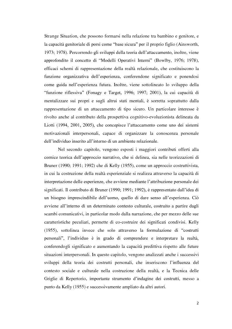 Anteprima della tesi: Lo sviluppo della narrazione e della memoria autobiografica alla luce della Teoria dell'Attaccamento, Pagina 3