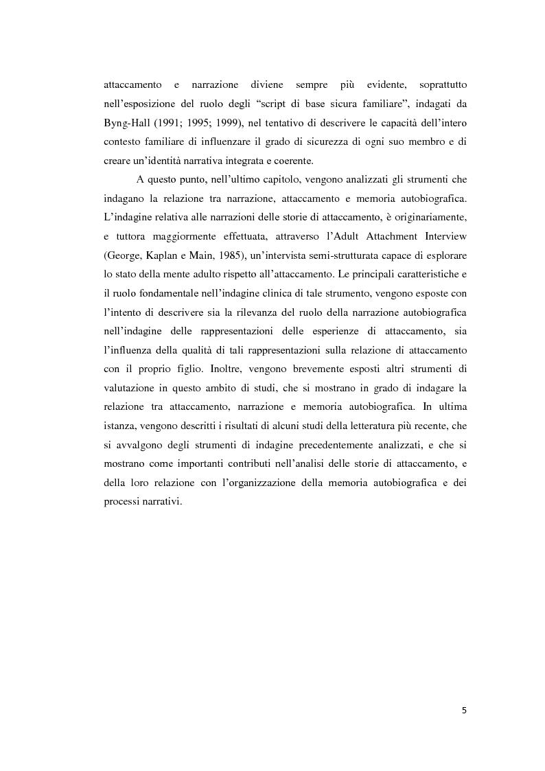Anteprima della tesi: Lo sviluppo della narrazione e della memoria autobiografica alla luce della Teoria dell'Attaccamento, Pagina 6