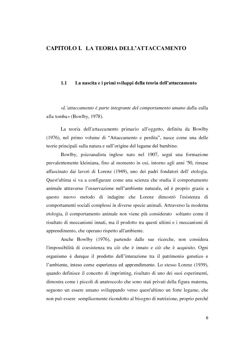 Anteprima della tesi: Lo sviluppo della narrazione e della memoria autobiografica alla luce della Teoria dell'Attaccamento, Pagina 7