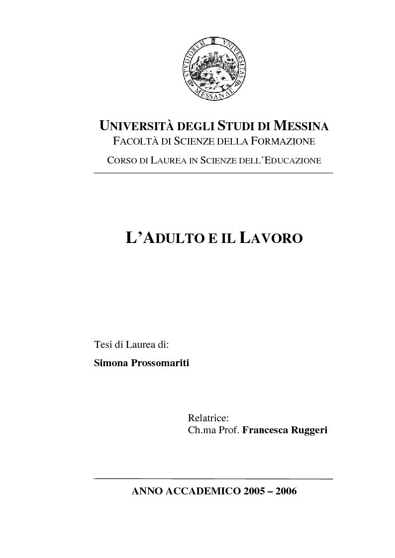 Anteprima della tesi: L'adulto e il lavoro, Pagina 1