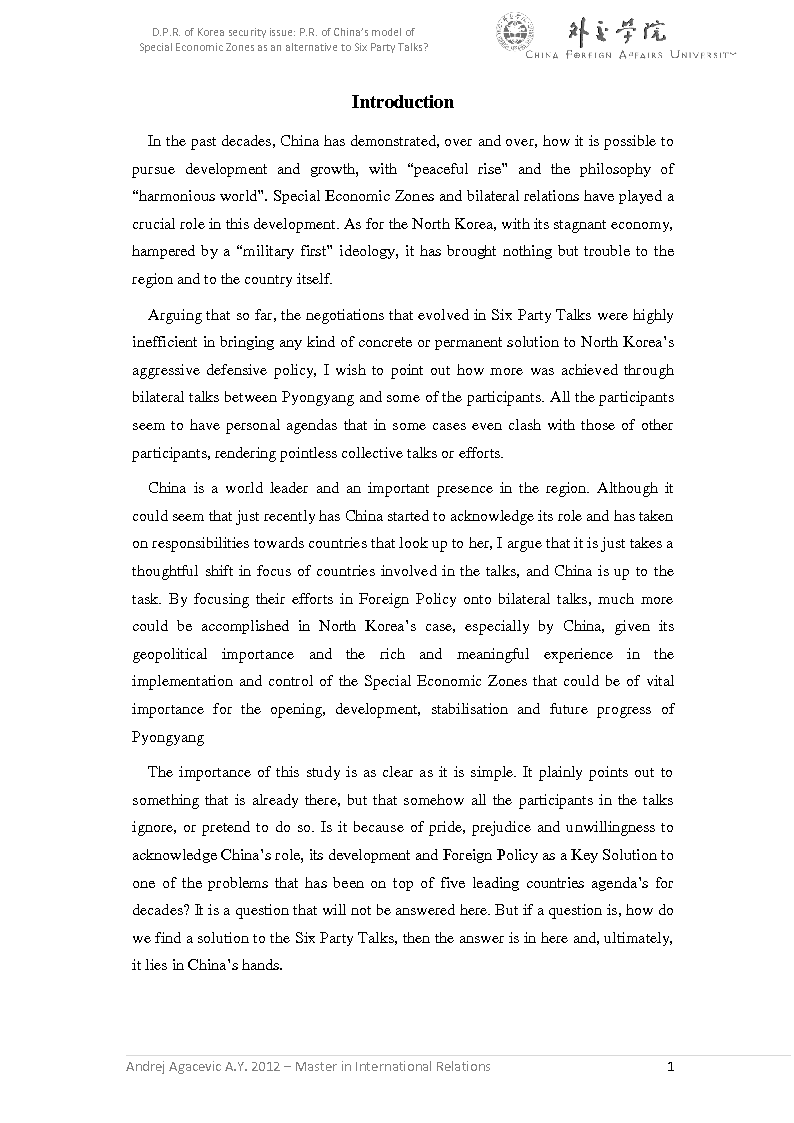 Anteprima della tesi: D.P.R. of Korea security issue: P.R. of China's model of Special Economic Zones as an alternative to Six Party Talks?, Pagina 2