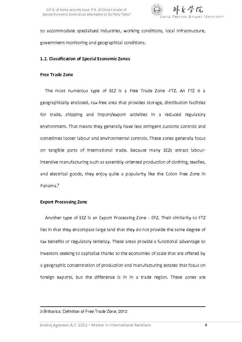 Anteprima della tesi: D.P.R. of Korea security issue: P.R. of China's model of Special Economic Zones as an alternative to Six Party Talks?, Pagina 5