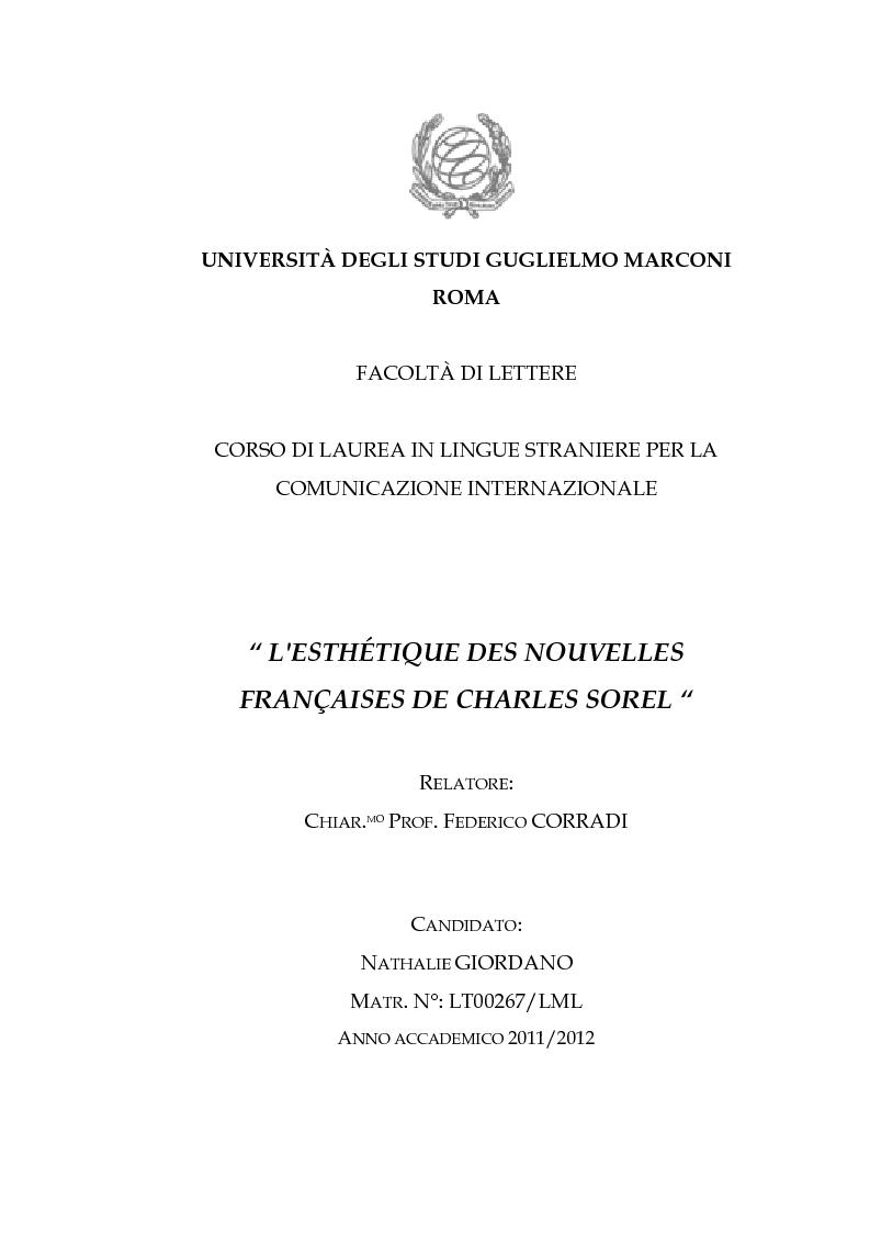 Anteprima della tesi: L'esthétique des Nouvelles Françaises de Charles Sorel, Pagina 1