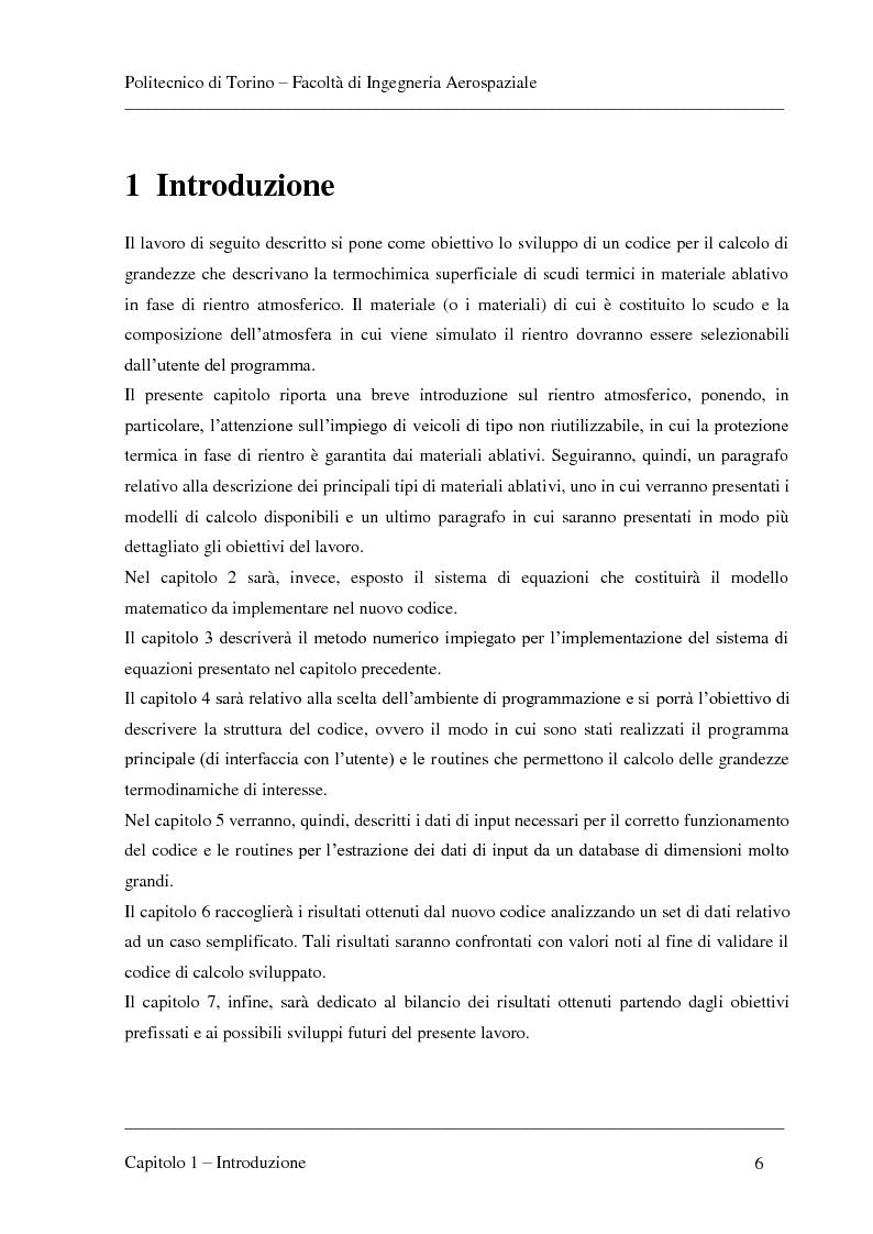 Anteprima della tesi: Modellizzazione dei fenomeni di ablazione superficiale di scudi termici per veicoli di rientro, Pagina 2