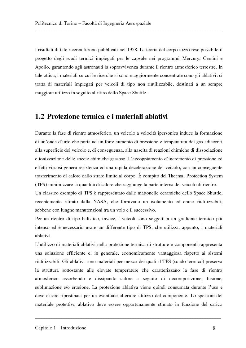 Anteprima della tesi: Modellizzazione dei fenomeni di ablazione superficiale di scudi termici per veicoli di rientro, Pagina 4