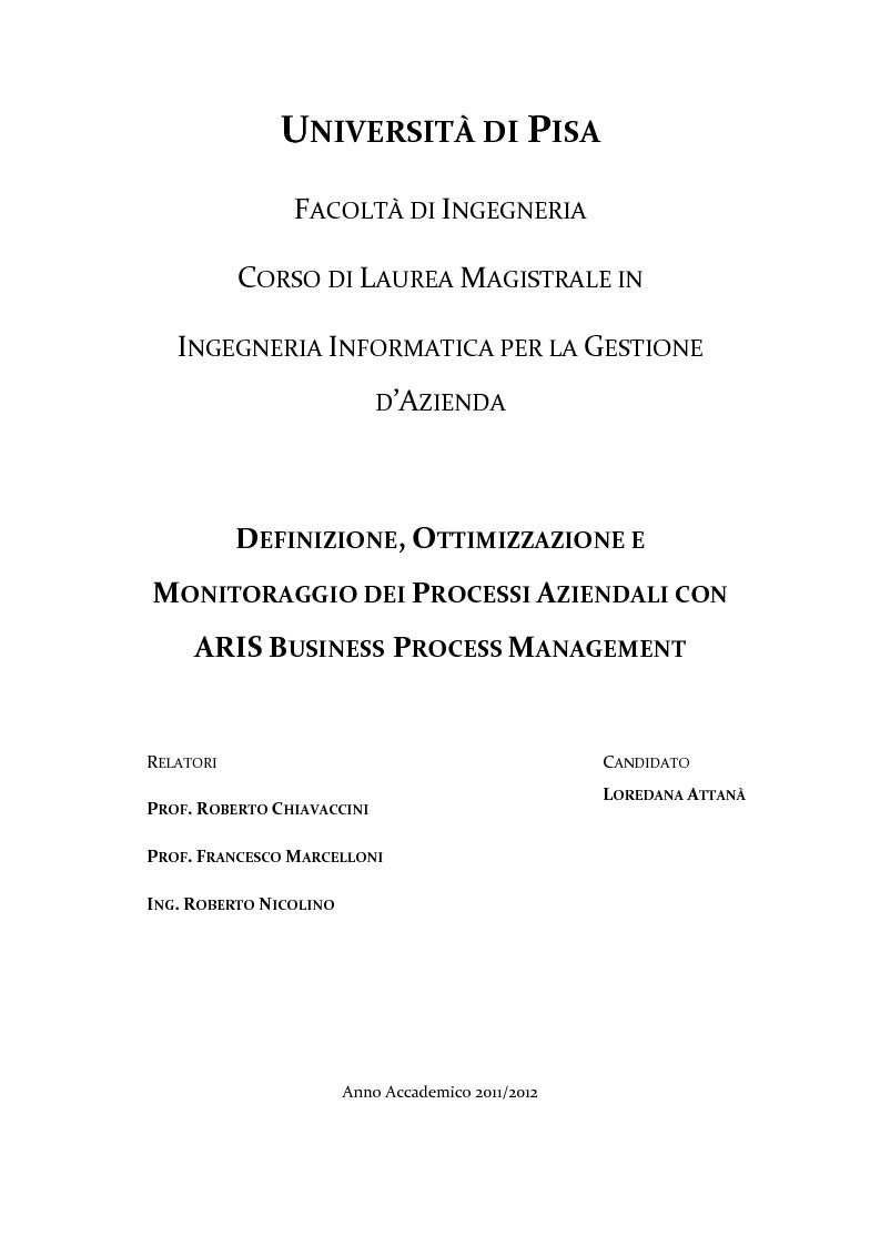 Anteprima della tesi: Definizione, ottimizzazione e monitoraggio dei processi aziendali con ARIS Business Process Management, Pagina 1