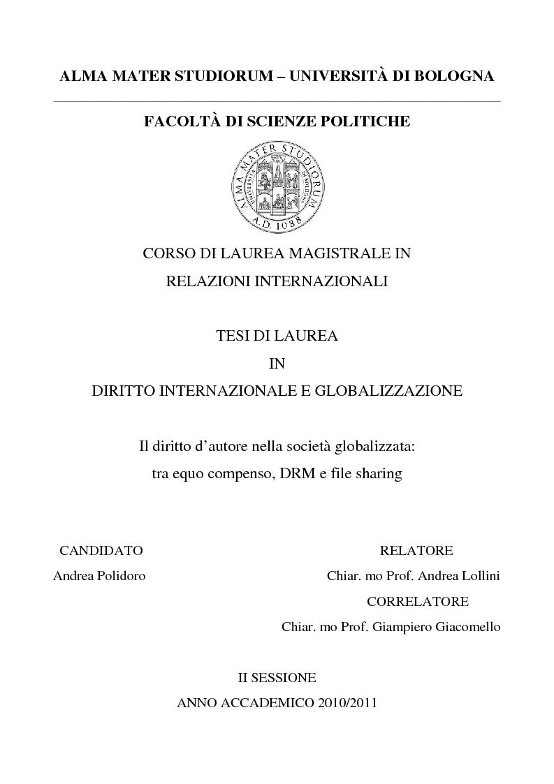 Anteprima della tesi: Il diritto d'autore nella società globalizzata: tra equo compenso, DRM e file sharing, Pagina 1