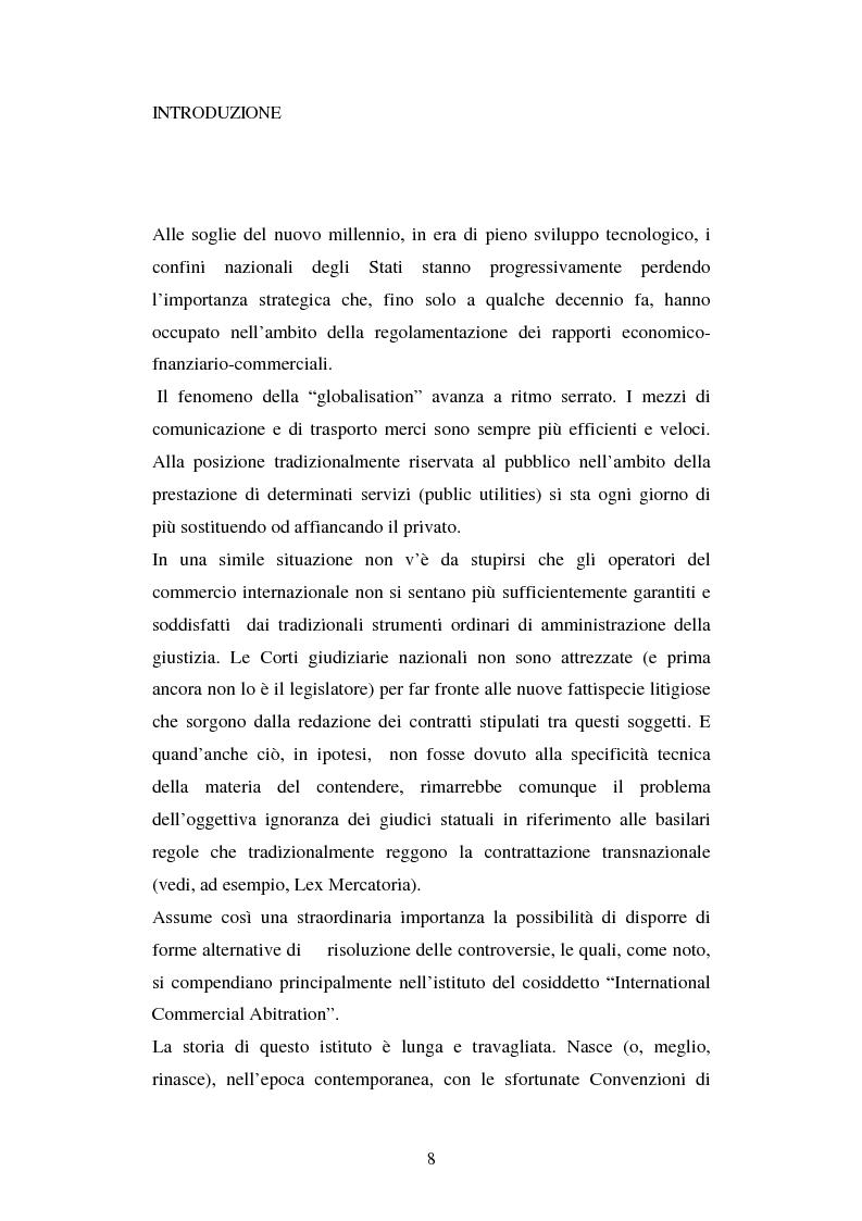 Anteprima della tesi: L'arbitrato commerciale internazionale. Il riconoscimento del lodo annullato nel paese d'origine ex articoli v(1)(e) e vII convenzione di New York del 1958, Pagina 1