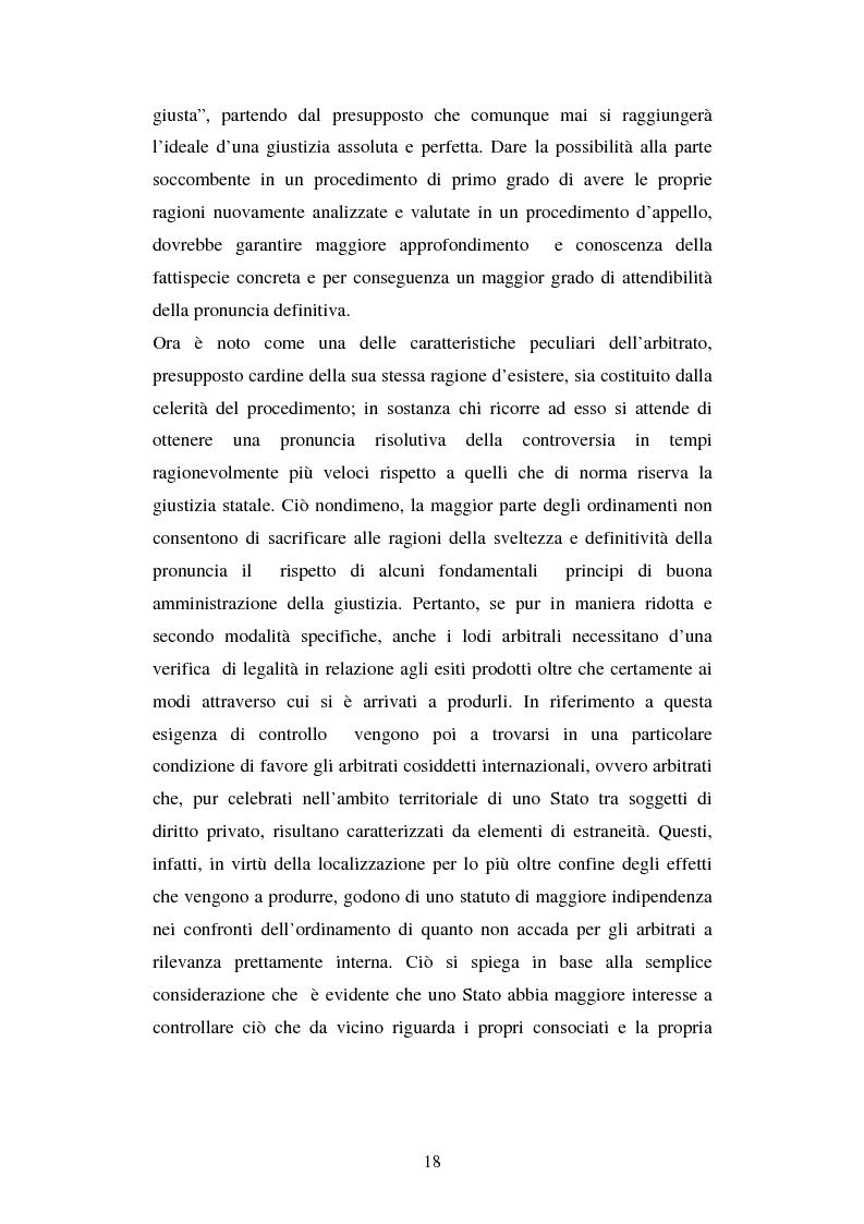 Anteprima della tesi: L'arbitrato commerciale internazionale. Il riconoscimento del lodo annullato nel paese d'origine ex articoli v(1)(e) e vII convenzione di New York del 1958, Pagina 11