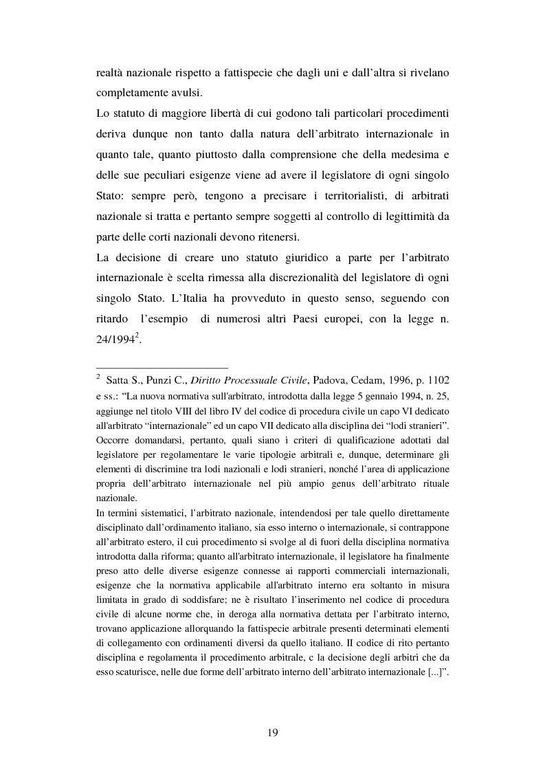 Anteprima della tesi: L'arbitrato commerciale internazionale. Il riconoscimento del lodo annullato nel paese d'origine ex articoli v(1)(e) e vII convenzione di New York del 1958, Pagina 12