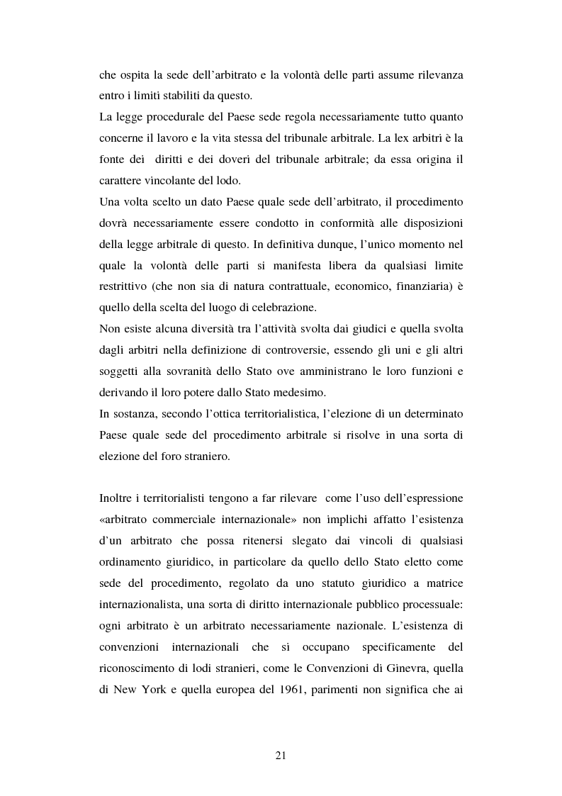 Anteprima della tesi: L'arbitrato commerciale internazionale. Il riconoscimento del lodo annullato nel paese d'origine ex articoli v(1)(e) e vII convenzione di New York del 1958, Pagina 14