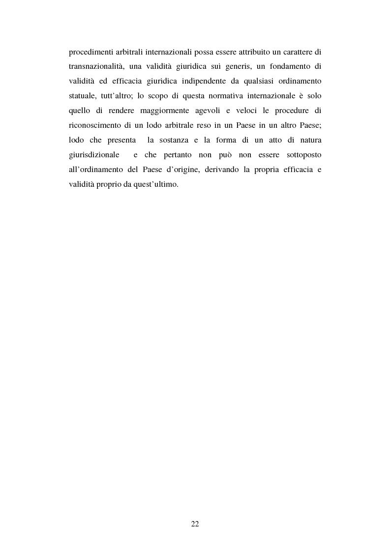Anteprima della tesi: L'arbitrato commerciale internazionale. Il riconoscimento del lodo annullato nel paese d'origine ex articoli v(1)(e) e vII convenzione di New York del 1958, Pagina 15