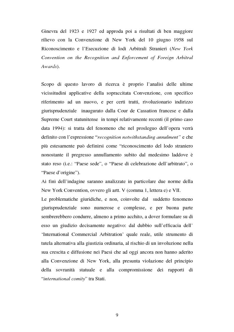Anteprima della tesi: L'arbitrato commerciale internazionale. Il riconoscimento del lodo annullato nel paese d'origine ex articoli v(1)(e) e vII convenzione di New York del 1958, Pagina 2