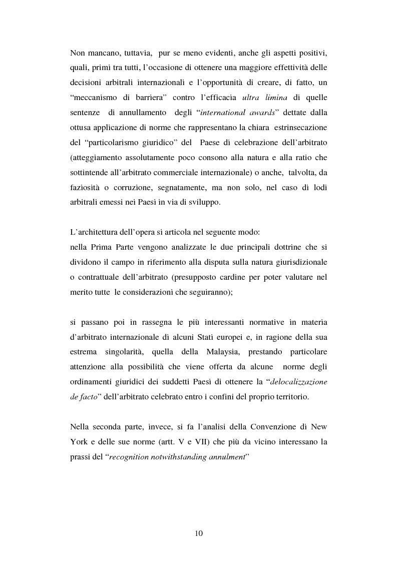 Anteprima della tesi: L'arbitrato commerciale internazionale. Il riconoscimento del lodo annullato nel paese d'origine ex articoli v(1)(e) e vII convenzione di New York del 1958, Pagina 3
