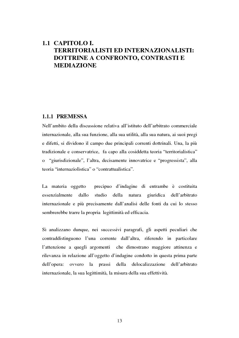 Anteprima della tesi: L'arbitrato commerciale internazionale. Il riconoscimento del lodo annullato nel paese d'origine ex articoli v(1)(e) e vII convenzione di New York del 1958, Pagina 6