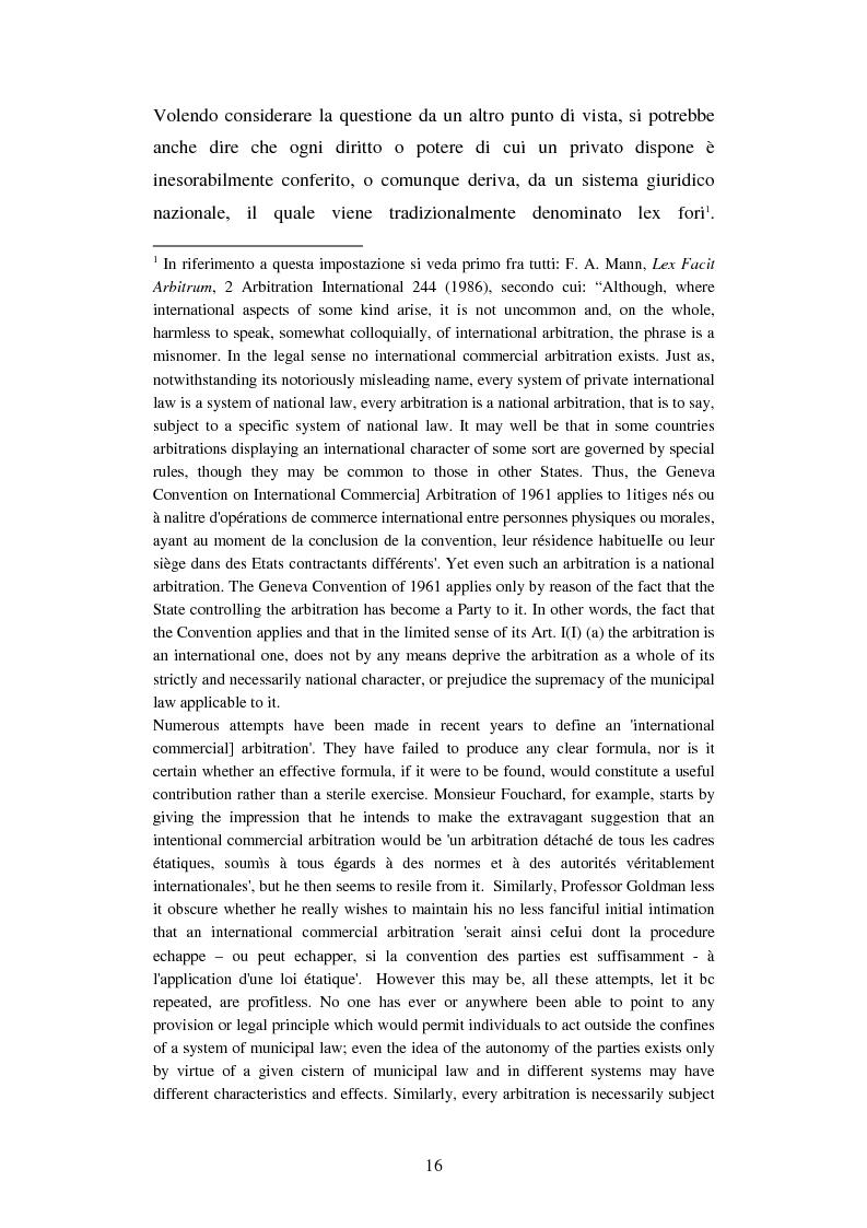 Anteprima della tesi: L'arbitrato commerciale internazionale. Il riconoscimento del lodo annullato nel paese d'origine ex articoli v(1)(e) e vII convenzione di New York del 1958, Pagina 9