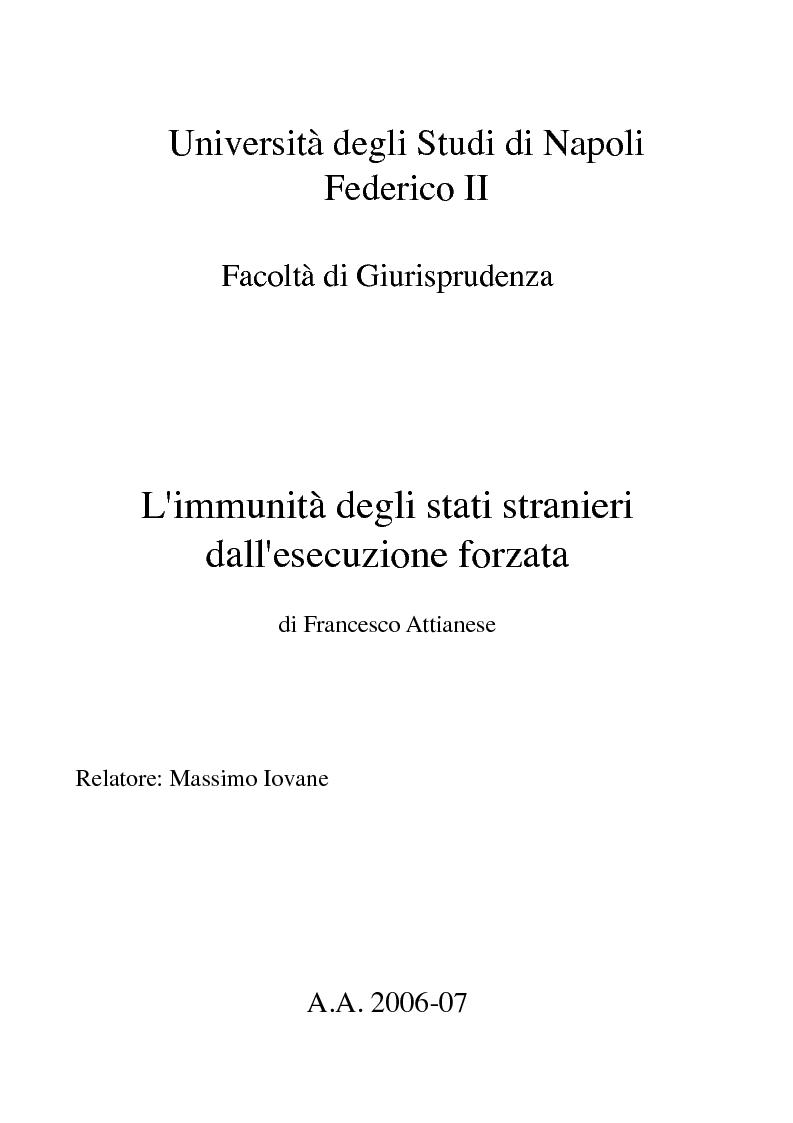 Anteprima della tesi: L'immunità degli stati stranieri dall'esecuzione forzata, Pagina 1