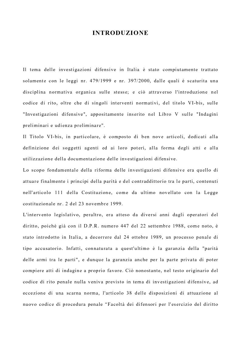 Anteprima della tesi: La disciplina delle investigazioni difensive, Pagina 2