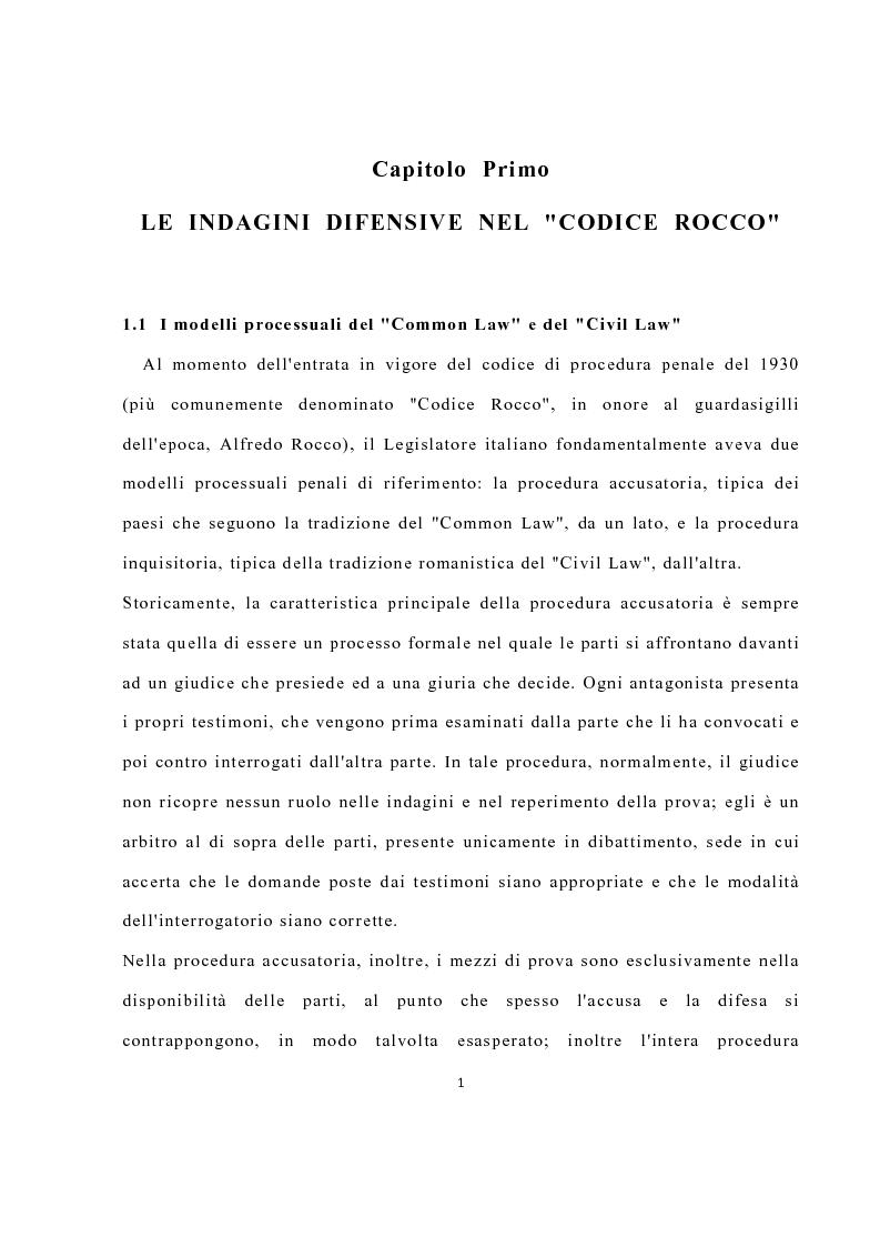 Anteprima della tesi: La disciplina delle investigazioni difensive, Pagina 5